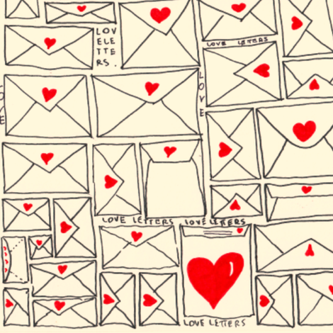 love letters swatch size fabric by mimi&me on Spoonflower - custom fabric