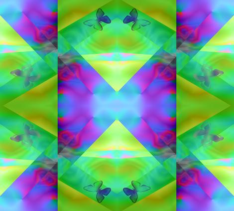 Green with Butterflies fabric by itsnaart_fabrics on Spoonflower - custom fabric