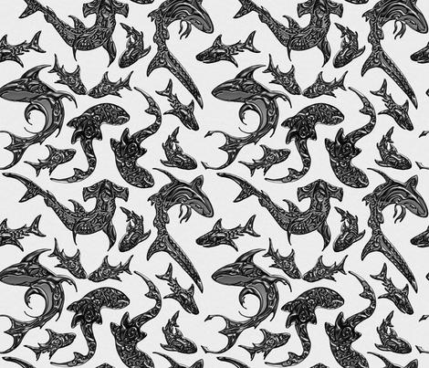 Tribal_Shark_Festival fabric by lisa_binion on Spoonflower - custom fabric