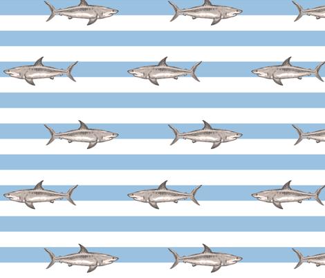 Fresh summer sharks fabric by lucybaribeau on Spoonflower - custom fabric
