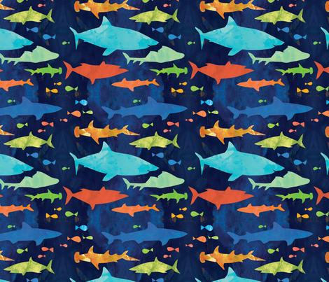 Sharks fabric by fromgabriela on Spoonflower - custom fabric