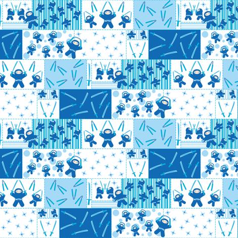 Blue Ninja Blocks fabric by robyriker on Spoonflower - custom fabric