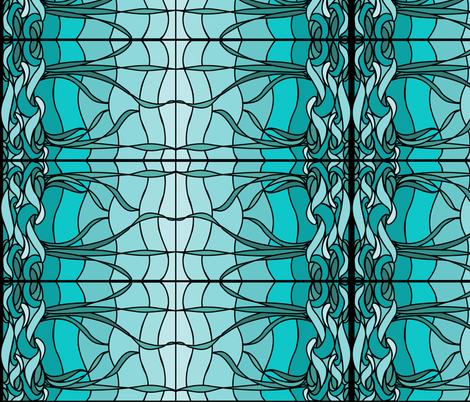 Marsh1b_recolor-waves_AQUA-SKY_BLUEGREEN_border fabric by mina on Spoonflower - custom fabric