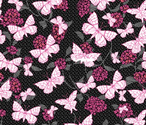 Butterfly Garden Pink fabric by kezia on Spoonflower - custom fabric