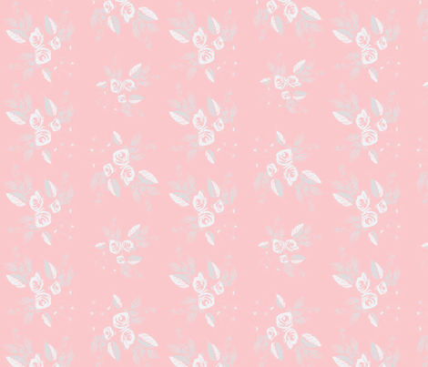 Roses White and Pink fabric by joanmclemore on Spoonflower - custom fabric