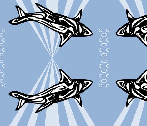 Inuit Inspired Shark fabric by ninjaauntsdesigns on Spoonflower - custom fabric