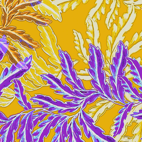 Vintage Fern in purple and yellow fabric by joanmclemore on Spoonflower - custom fabric