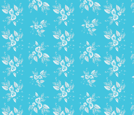 Roses White and Blue fabric by joanmclemore on Spoonflower - custom fabric