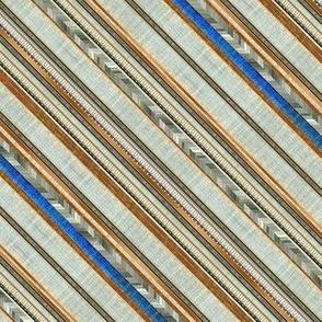 Bias faux linen stripe