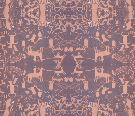 petroglyphs - pink & grey fabric by dreamskyart on Spoonflower - custom fabric