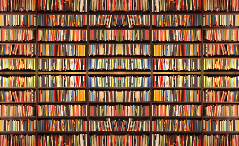 Books Wallpaper book shelf wallpaper - lauredesigns - spoonflower