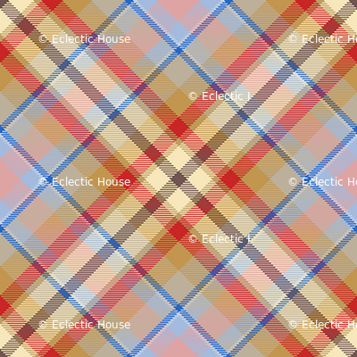 Tan, Red and Cream Plaid