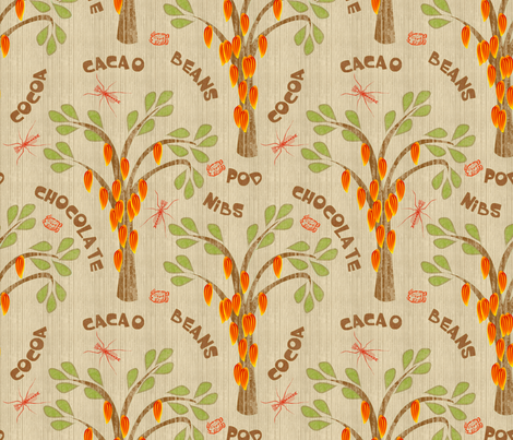 "Cacao Trees with Midges and Mayan Glyph for ""Ka-Kaw"" in Husk fabric by glimmericks on Spoonflower - custom fabric"