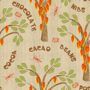 "Cacao Trees with Midges and Mayan Glyph for ""Ka-Kaw"" in Husk"