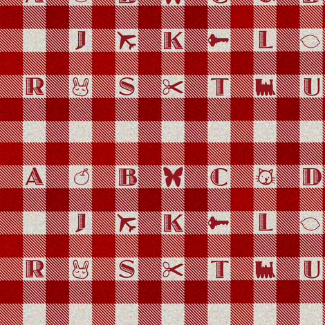 Gingham Alphabet Brighter fabric by eclectic_house on Spoonflower - custom fabric