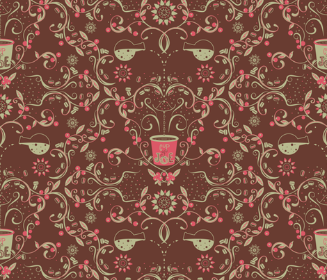Farm to Table Cup of Joe (coffee background) - © Lucinda Wei fabric by lucindawei on Spoonflower - custom fabric