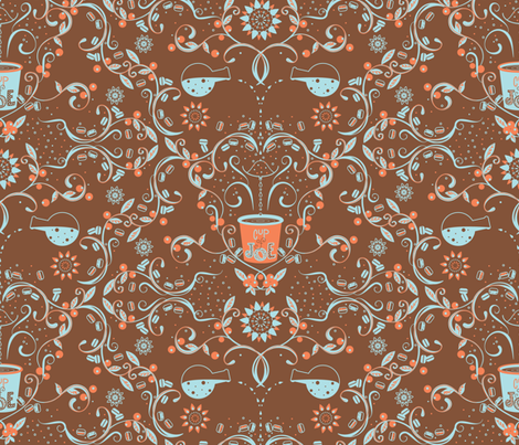 Farm to Table Cup of Joe (blue, orange, coffee) - © Lucinda Wei fabric by lucindawei on Spoonflower - custom fabric