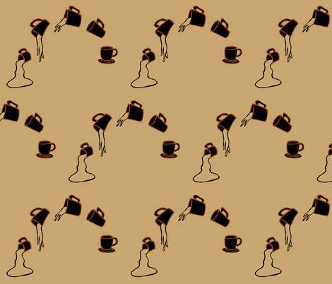 Spilling coffee repeatedly fabric by lothar on Spoonflower - custom fabric
