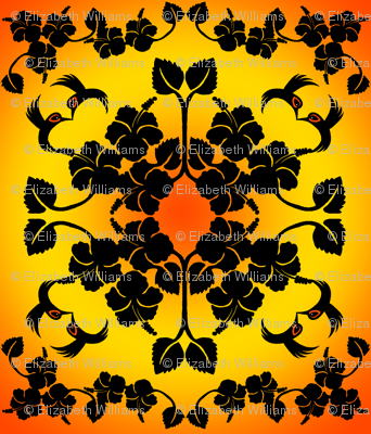 Hibiscus and Hummingbird Hawaiian Quilt Top