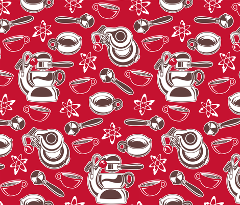 Atomic Coffee Red fabric by cjldesigns on Spoonflower - custom fabric