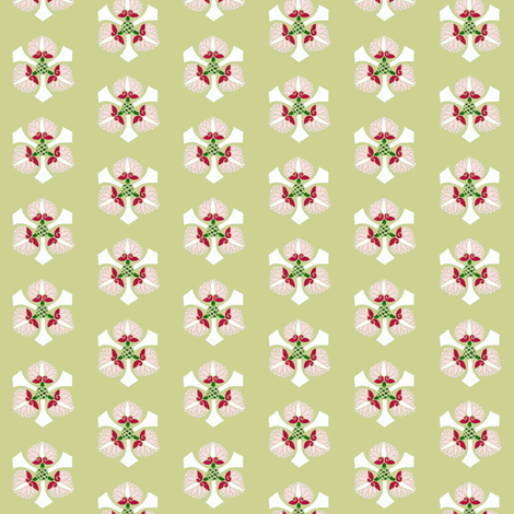 Formal floral on olive by Su_G fabric by su_g on Spoonflower - custom fabric