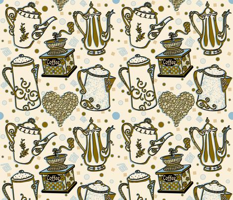 CoffeeDelight_byTeresaMilburnKelly fabric by doodledoer-teresakelly on Spoonflower - custom fabric