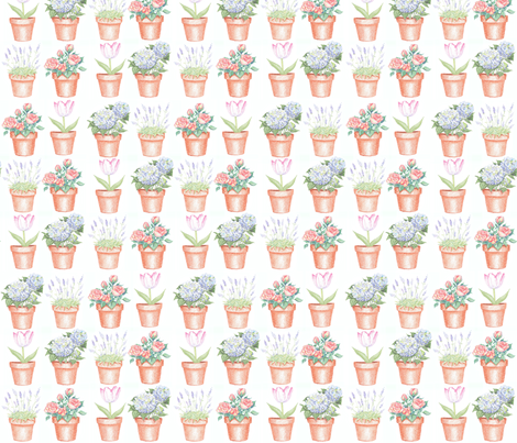 Potted Flowers fabric by creativebrenda on Spoonflower - custom fabric