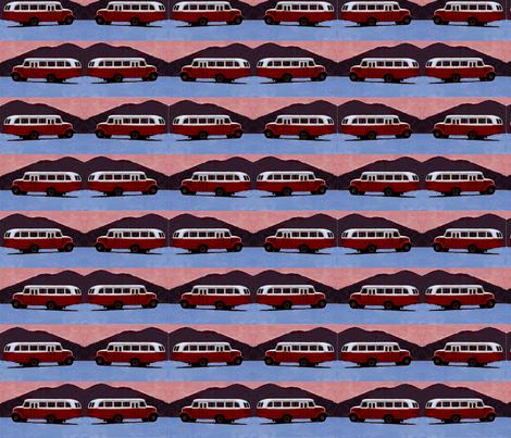 vintage_fifties_caravan_car_camping_bus_in_the_desert_night fabric by vinkeli on Spoonflower - custom fabric
