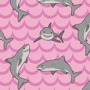 Kawai sharks in pink waves (exercise in style)
