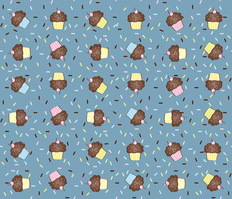 Yumcakes! in slate blue - © Lucinda Wei fabric by lucindawei on Spoonflower - custom fabric