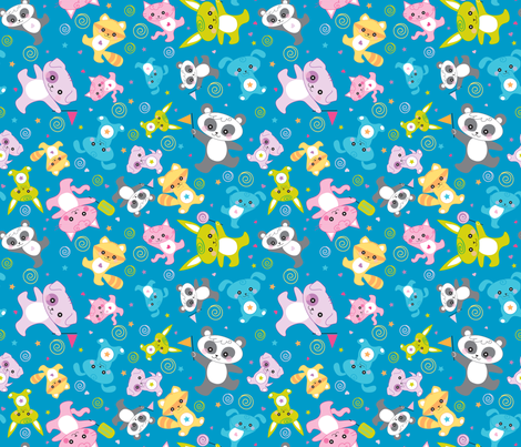 kawaii: happy critters in blue  - © Lucinda Wei fabric by lucindawei on Spoonflower - custom fabric