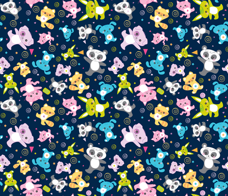 kawaii: happy critters in dark blue - © Lucinda Wei fabric by lucindawei on Spoonflower - custom fabric