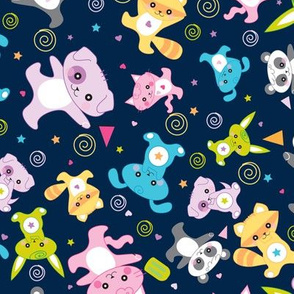 kawaii: happy critters in dark blue - © Lucinda Wei