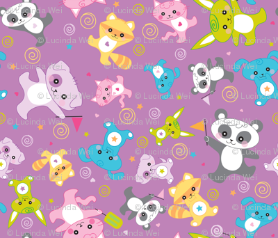 kawaii: happy critters in purple - © Lucinda Wei