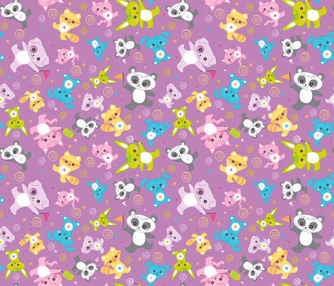 kawaii: happy critters in purple - © Lucinda Wei fabric by lucindawei on Spoonflower - custom fabric