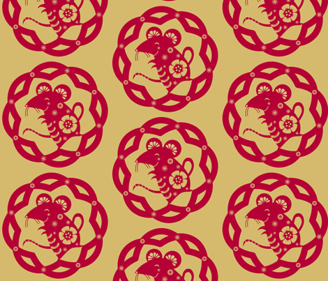 The Year of the Rat (solo): Red & Gold - © Lucinda Wei fabric by lucindawei on Spoonflower - custom fabric
