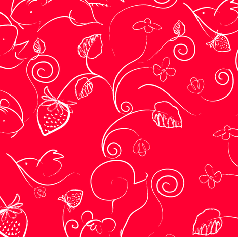 Woodland Creatures: Strawberry Feast in Red fabric by lucindawei on Spoonflower - custom fabric