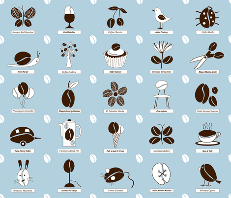 coffee_blue fabric by peppermintpatty on Spoonflower - custom fabric