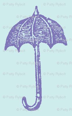 Rainy Days Vintage Umbrella (violet & lt. aqua)