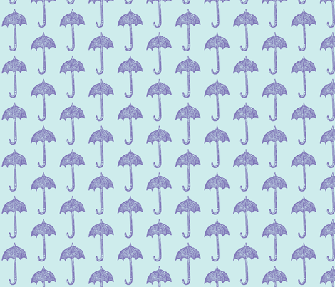 Rainy Days Vintage Umbrella (violet & lt. aqua) fabric by pattyryboltdesigns on Spoonflower - custom fabric
