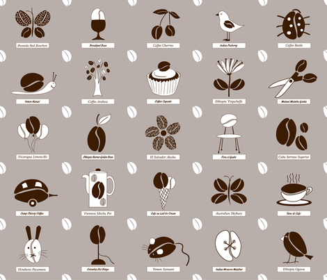 coffee_miscellanea fabric by peppermintpatty on Spoonflower - custom fabric