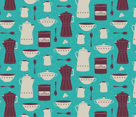 thrift store coffee set fabric by bubbledog on Spoonflower - custom fabric