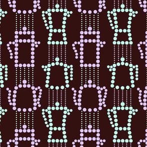 c0ffee and decafe on black coffee - dotty stripes