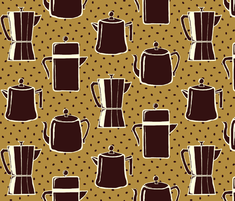 """Black coffee"" and ""cafe au lait"" with cream and beans fabric by victorialasher on Spoonflower - custom fabric"