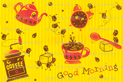 Happy Morning Coffee Beans - (please zoom in for details ^^ )