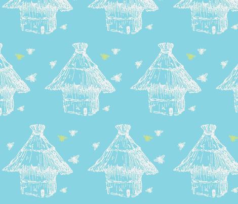 Buzzz (aqua, lime & white) fabric by pattyryboltdesigns on Spoonflower - custom fabric