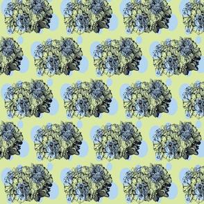Dotty hydrangea/blue&green
