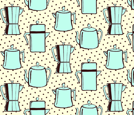 """c0ffee"" pots with ""black coffee"" beans and cream fabric by victorialasher on Spoonflower - custom fabric"