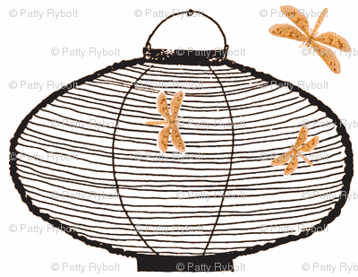 Bamboo lanterns and dragonflies (black & orange)