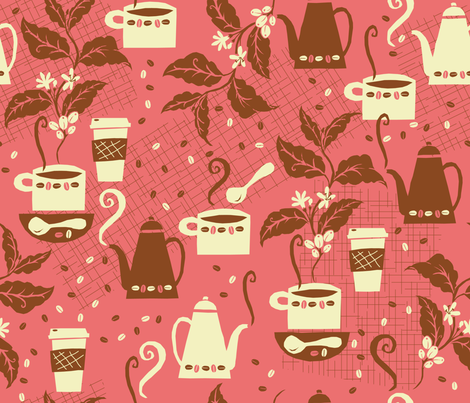Java Jump in the Pink fabric by cynthiafrenette on Spoonflower - custom fabric